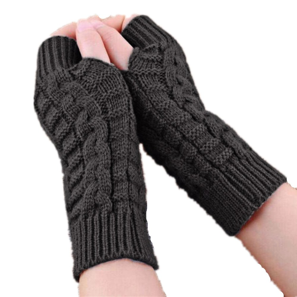 Gloves,Baomabao Knitted Arm Winter Gloves Unisex Soft Warm Mitten (Gray)