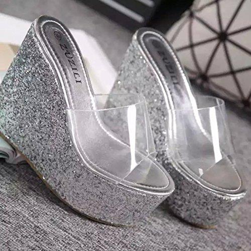 13Cm Cool Talons Summer Chaussures Femme Pente silvery GTVERNH Pantoufles Chaussures Forme Plate Chaussures Crystal Bas Étanches Princesse Transparent Hauts Talon Épais t165qgwq