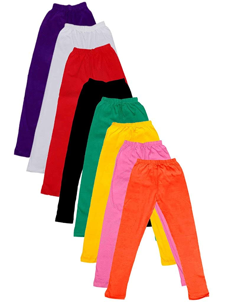 -Multiple Colors-11-12 Years Pack of 8 Indistar Big Girls Cotton Full Ankle Length Solid Leggings