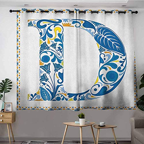 DGGO Custom Curtains,Letter D Vibrant Colored Swirls and Flower Elements in Alphabet Artwork with Frame,Insulated with Grommet Curtains for Bedroom,W72x45L Blue Yellow Orange