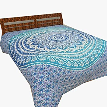 Amazon Com Sultan Handicrafts Indian Blue Bohemian Floral Ombre