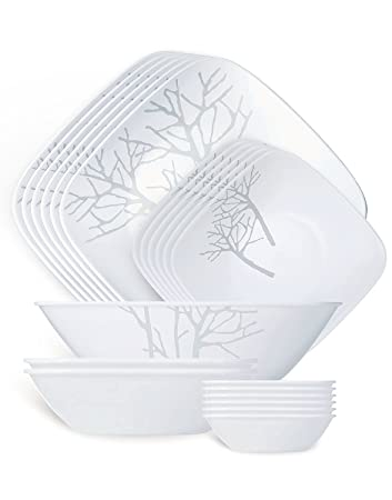 corelle dinner sets india. corelle square round frost sq dinner set, 21-pieces sets india e