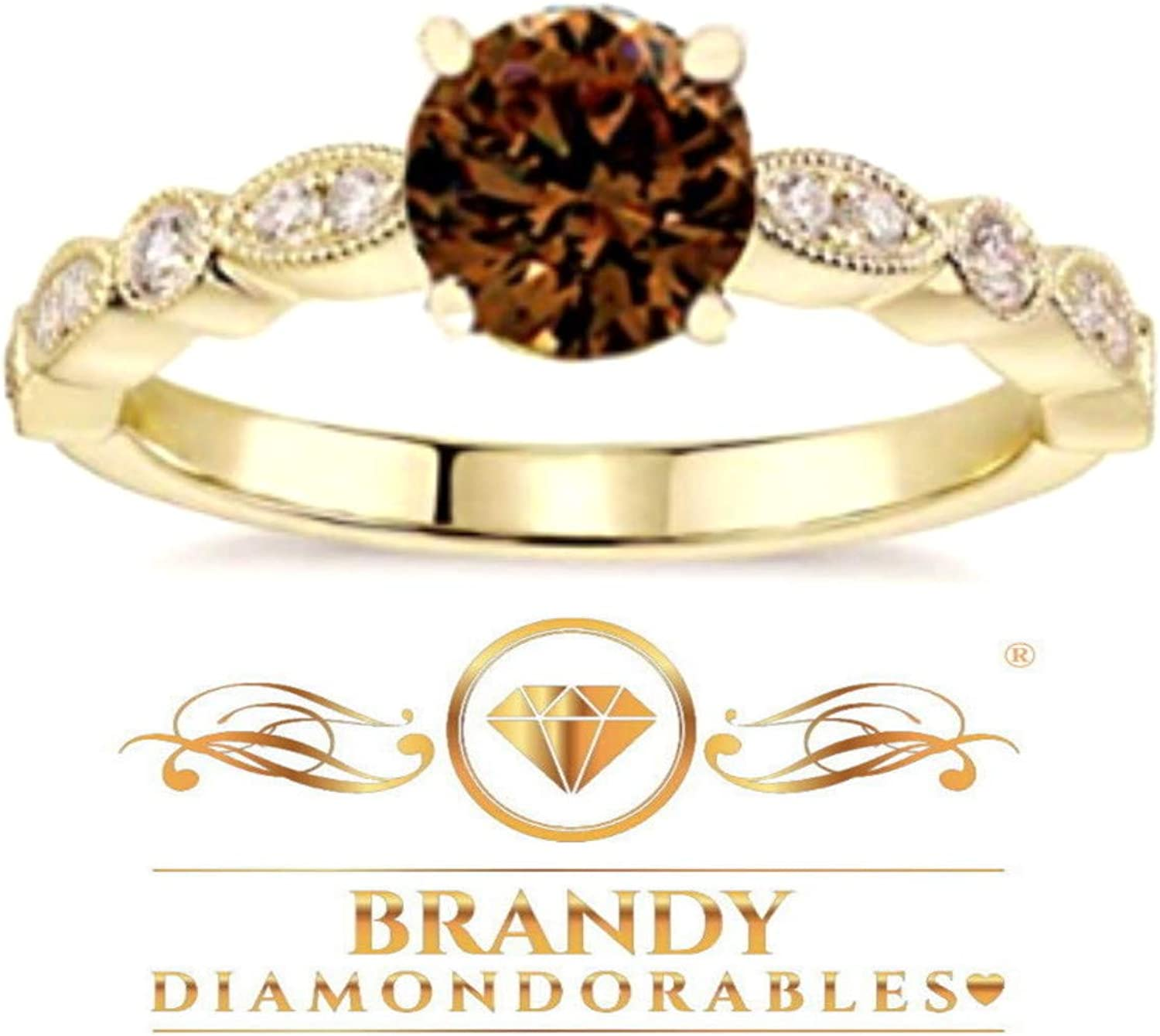 Brandy Diamondorables® Chocolate Brown 18K Rose Gold Silver Halo Solitaire Ring