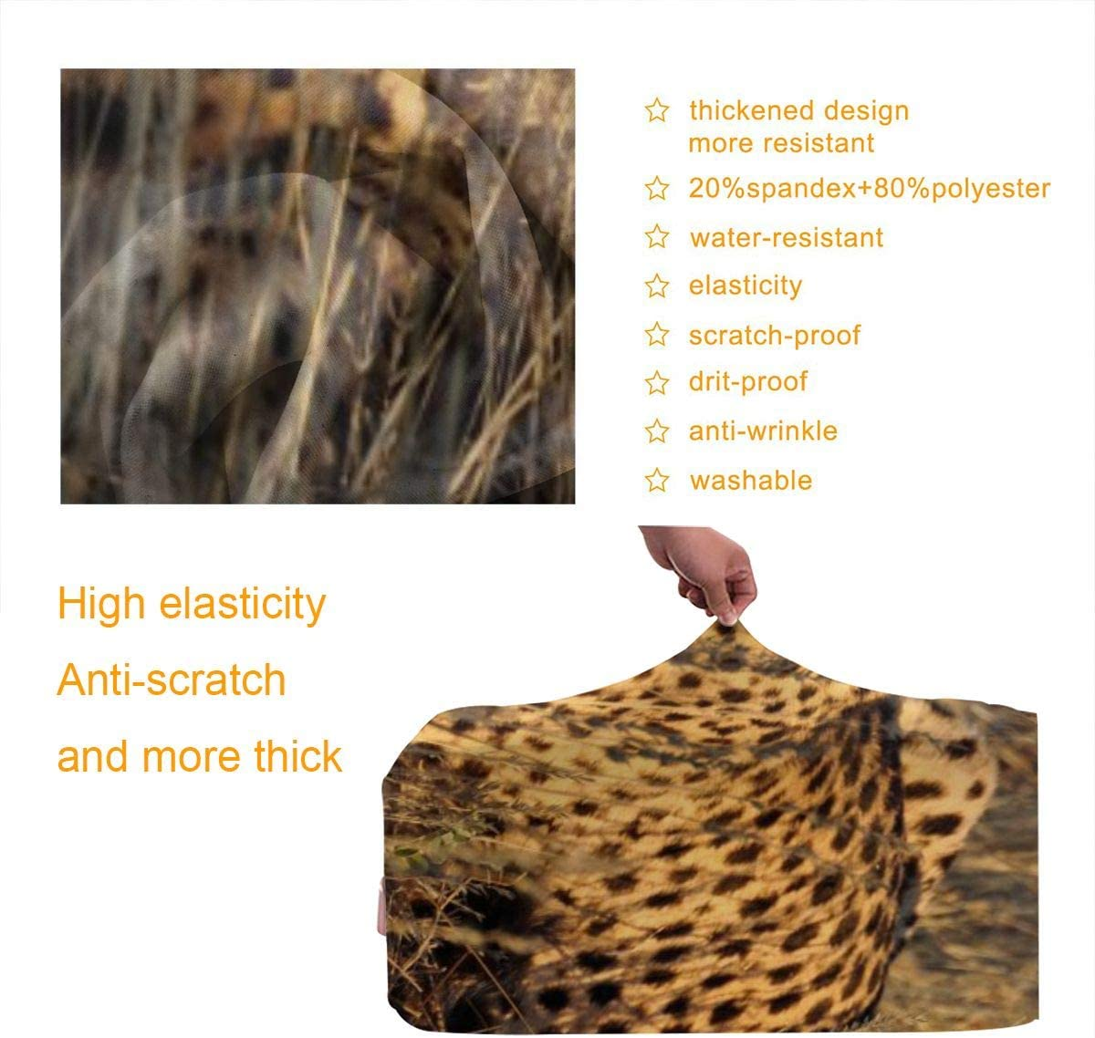 Cheetah Design Travel Suitcase Protector Anti-scratch Washable Dust Thicken Elasticity Cover Travel Luggage Cover