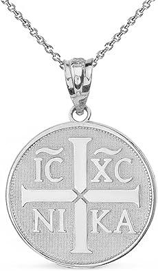 marxista Paciencia Ascensor  Amazon.com: 14k White Gold Christogram Symbol IC XC NIKA Jesus Christ  Conquers Medallion Necklace, 16