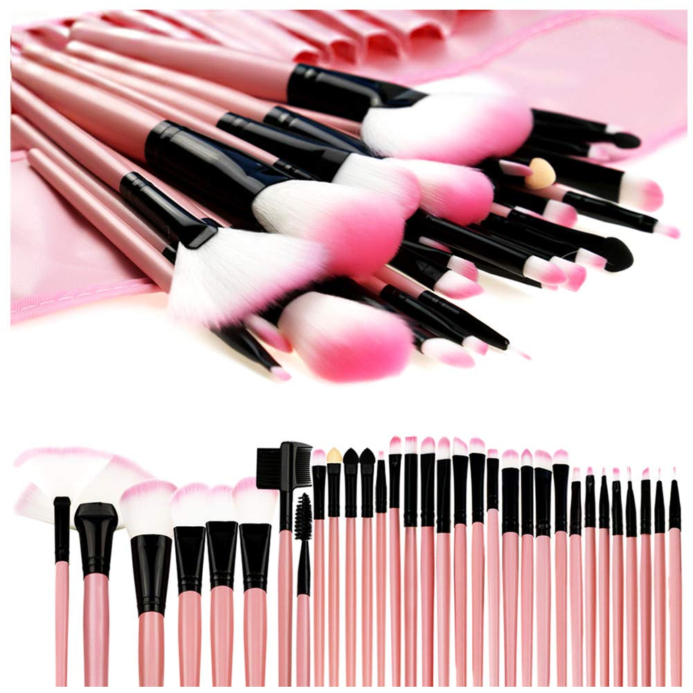 Makeup Brushes, Makeup Brush Set, 32 PCS Profesional Wooden Handle Synthetic Cosmetics Makeup Brush Kit with Leather Case, Foundation Eyeliner Blending Concealer Mascara Eyeshadow Face Powder (Pink)