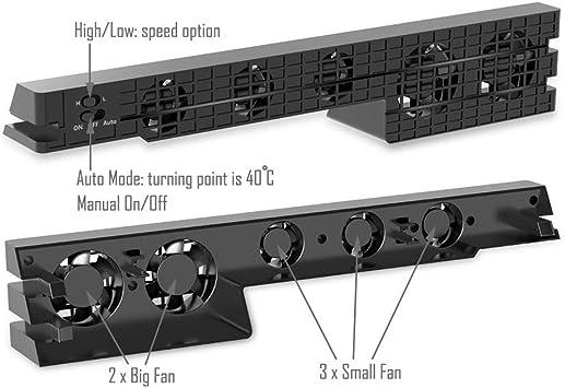 PS4 Pro ventilador de refrigeración - Turbo refrigerador Control De La Temperatura Del Súper USB Cooling Fan Cooler para Sony PlayStation 4 Pro: Amazon.es: Informática