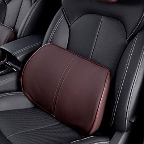 Homdsim Artificial Leather Lumbar Cushion Car Seat Lower Back Support Pillow With Soft Memory Foam Comfortable For Car Driving Home Office Computer