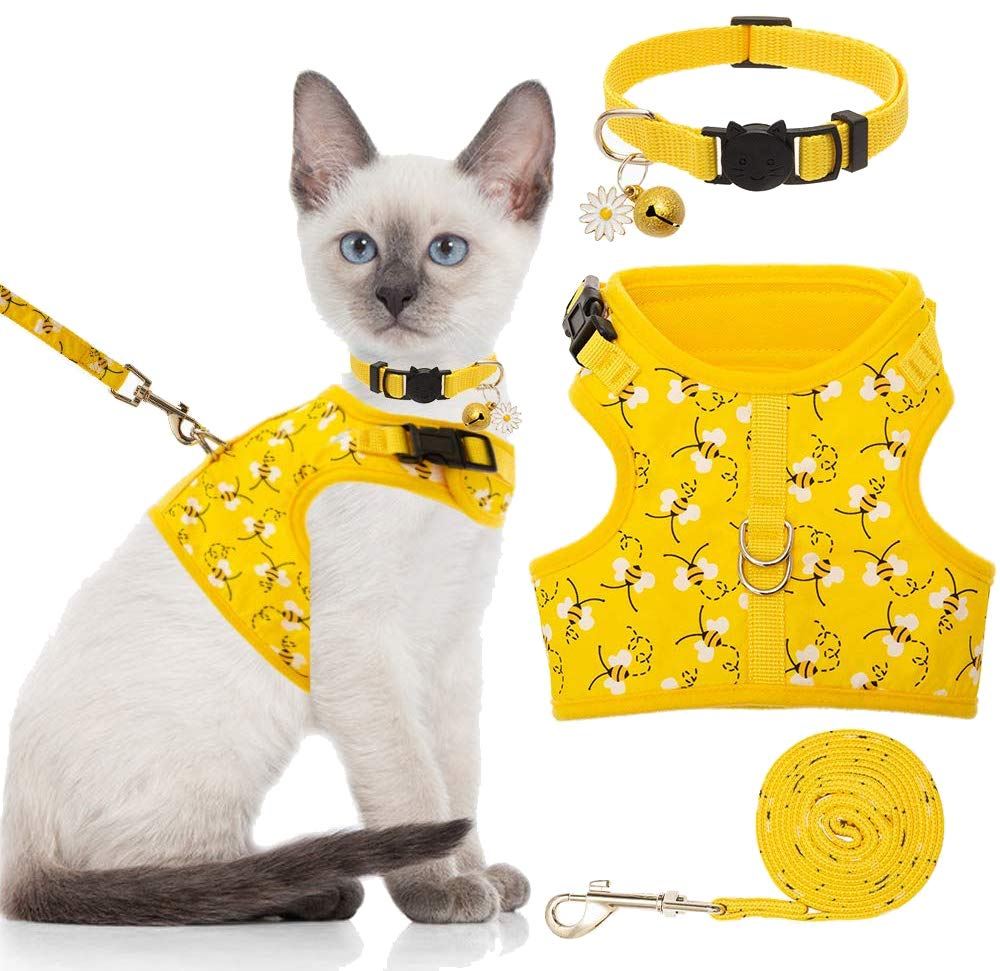 BINGPET Cat Harness with Leash and Collar for Walking – Escape Proof with 59 Inches Leash – Adjustable Soft Vest…