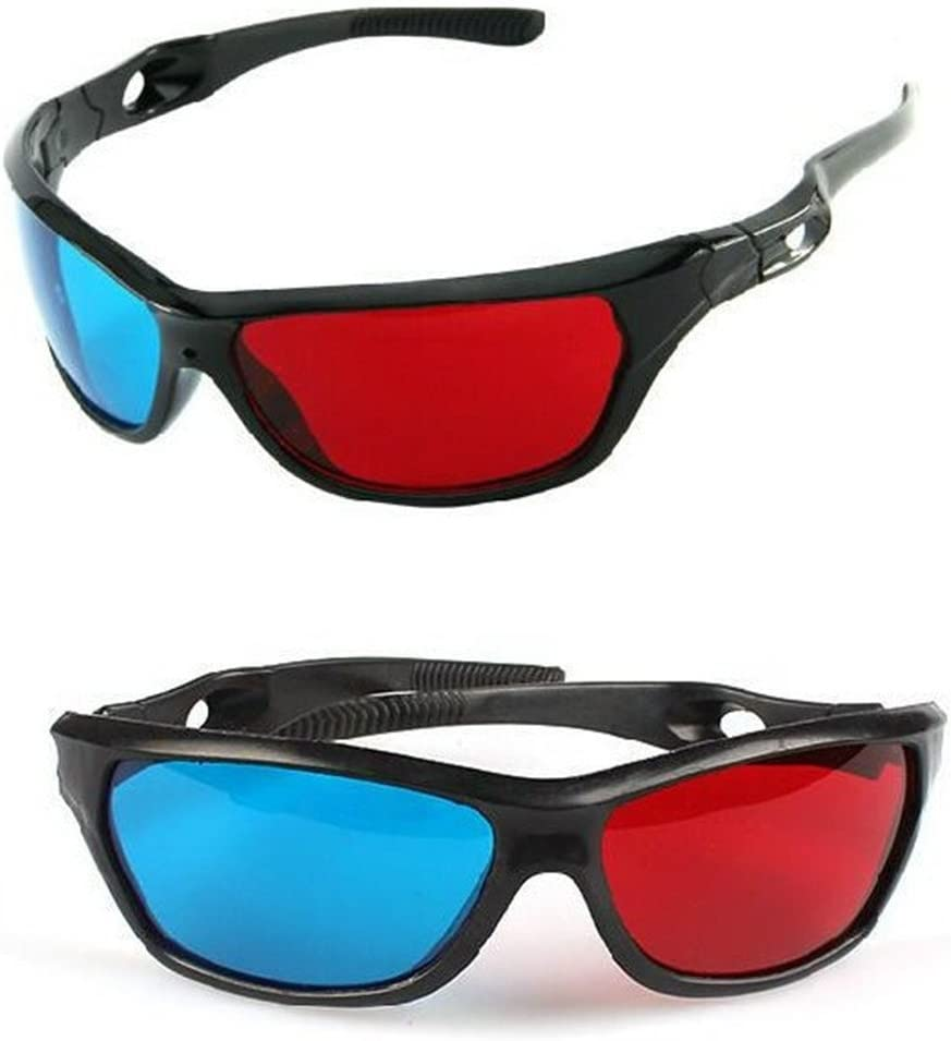 Cyan Anaglyph Simple Style 3d Glasses 3d Movie Game-extra Upgrade Style 2Pcs With Different Style Red-blue