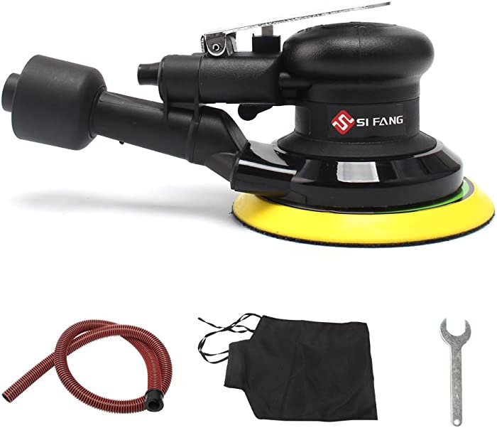 SI FANG 5'' Air Random Orbital Sander,Self-Generated Vacuum ,Dual Action Pneumatic Tool