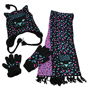 N'Ice Caps Girls Cute Kitty Warm Sherpa Lined Knitted 3PC Winter Accessory Set