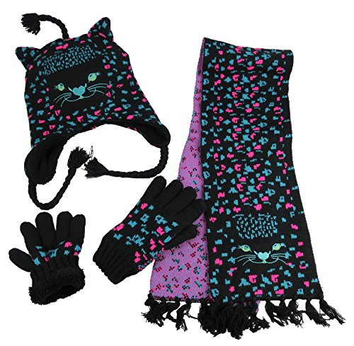 NIce Caps Girls Cute Kitty Warm Sherpa Lined Knitted 3PC Winter Accessory Set