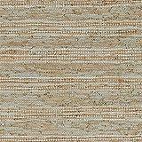 Stone & Beam Striped Leather Rug, 5' x 8', Beige