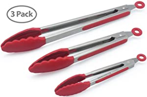 The holm Set of 3 Heavy Duty, Non-stick, Stainless Steel Kitchen Red Tongs (7, 9, 12 Inch) for Barbeque, Cooking, Grilling Turner - A Serving and Feeding Set for Your Kitchen