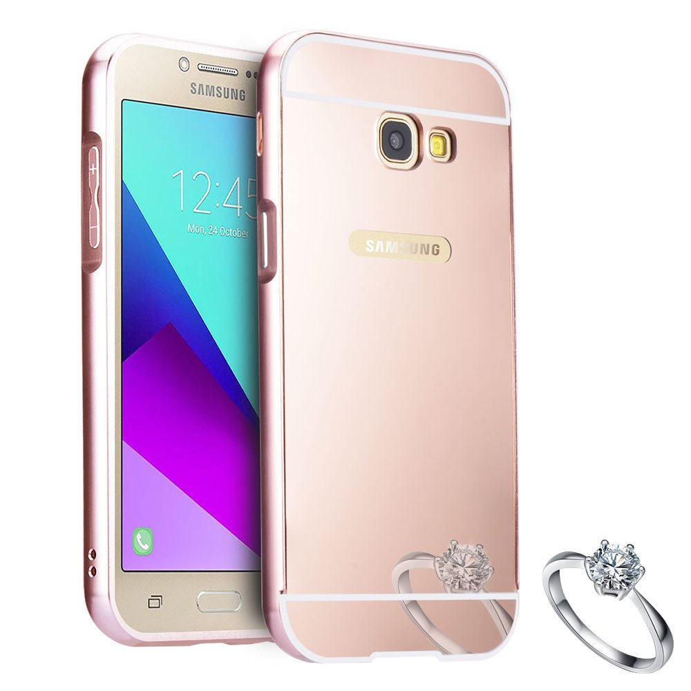 Galaxy A5 2017 Case Sunroyal Luxury Metal Aluminum Bumper With Brushed Cover Samsung A520 Frame Shiny Mirror Pc Hard Back Scratch Resistant Protective Skin For