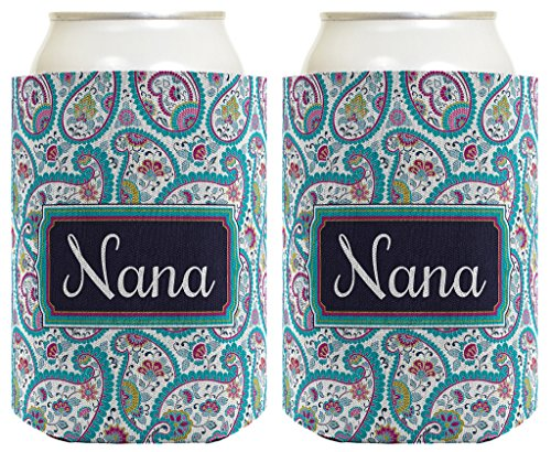 Mother's Day Gift for Nana Cute Paisley 2 Pack Can Coolie Drink Coolers Coolies Paisley