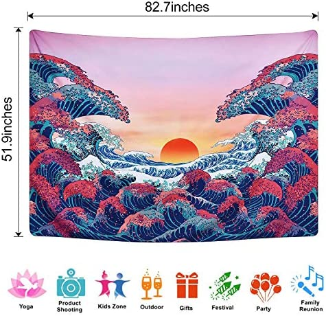 Unv Ocean Wave Tapestry, Large Japanese Wall Tapestry Sunset 3D Great Waves Tapestry Nature Landscape Tapestries for Bedroom Living Room Home Dorm Decor 59.1 x 82.7 , Ocean Wave