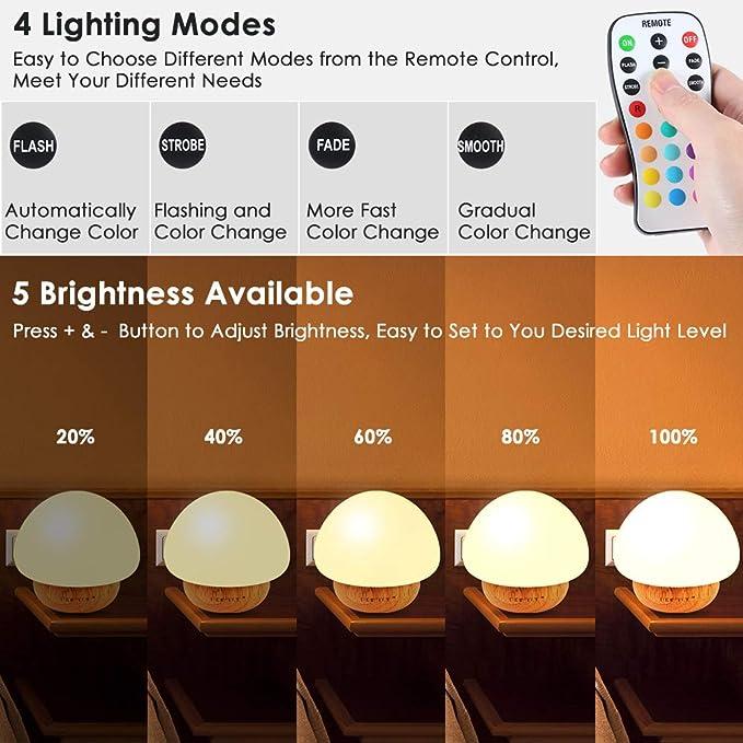 Changing Diaper Mushroom Kids Child Night Lights with 16 Colors Baby Night Light Low-wattage 4 Lighting Modes Bedside Soft Eye Caring LED Nursery Lamp for Feeding Nursing Adjustable Brightness