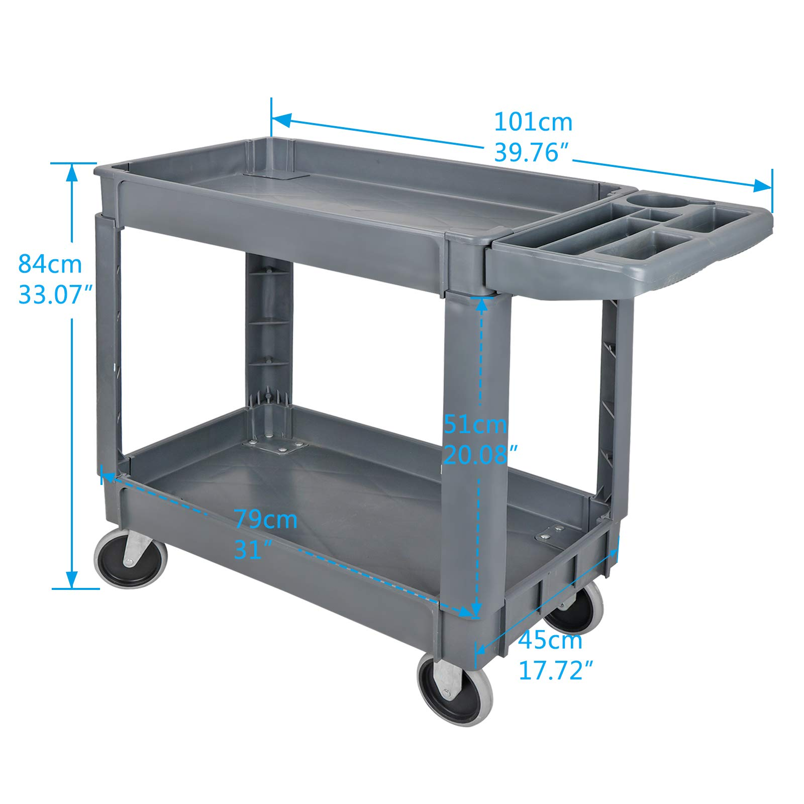 ZENY Rolling Utility Tool Storage Carts Shelves Push Service Cart Tools Organizer with Wheels 550 LBS Capacity by ZENY (Image #2)