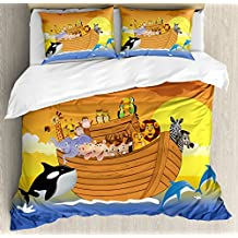 Noah's Ark Decor Duvet Cover Set by Ambesonne, Noah's Ark Boat with Happy Mythical Creatures in the Sea with Whale and Dolphin Sun Print, 3 Piece Bedding Set with Pillow Shams, King Size, Multi