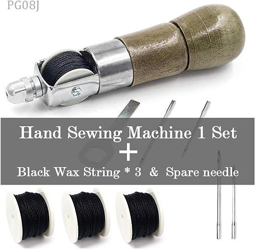 PGXFLLL Herramienta de Costura de Cuero DIY Máquina de Coser a Mano de Cuero Hilo Encerado para Cuero Craft Borde Cinturón de Costura Tiras Zapatero Herramientas: Amazon.es: Hogar