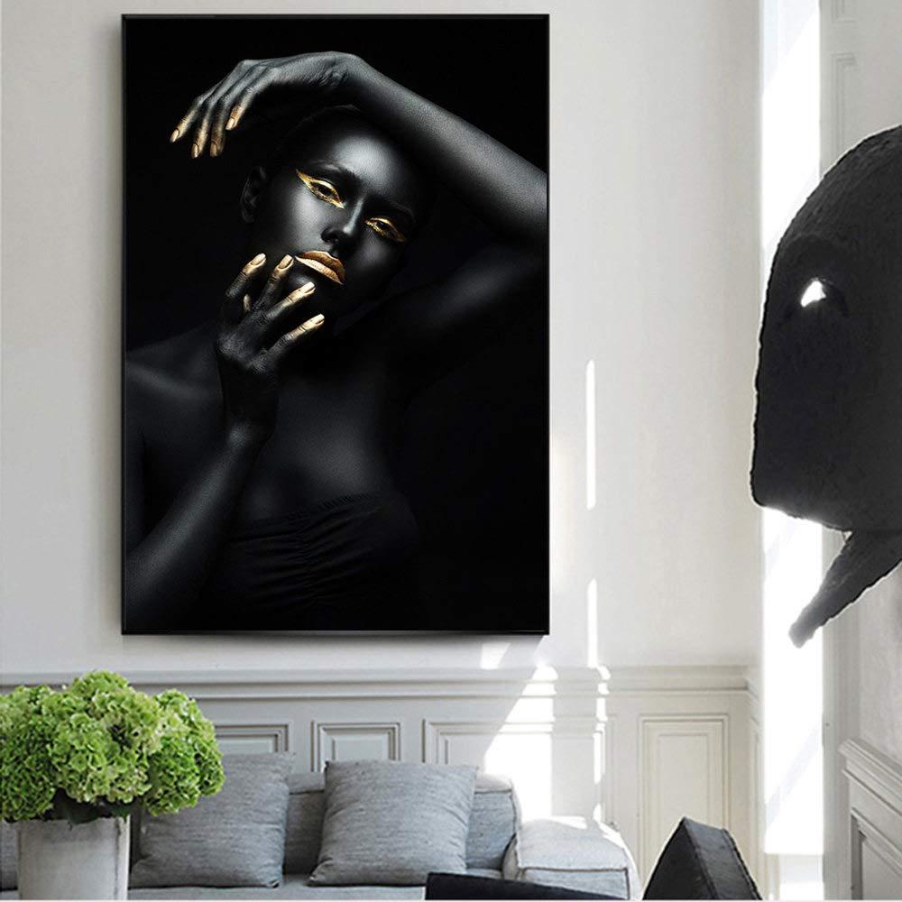 Cuadro sobre Lienzo,Sexy Moderno Golden Labios Maquillaje Chica Negra Lienzo Pintura Impresi/ón P/óster De Impresi/ón HD Wall Art Modern Pop Arte Imagen De Sal/ón Dormitorio Decoracion,20X30Cm.