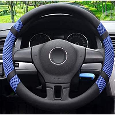 Microfiber Leather and Viscose Universal Breathable Anti-Slip Odorless Steering Wheel Cover (14''-14.25'', Blue): Automotive