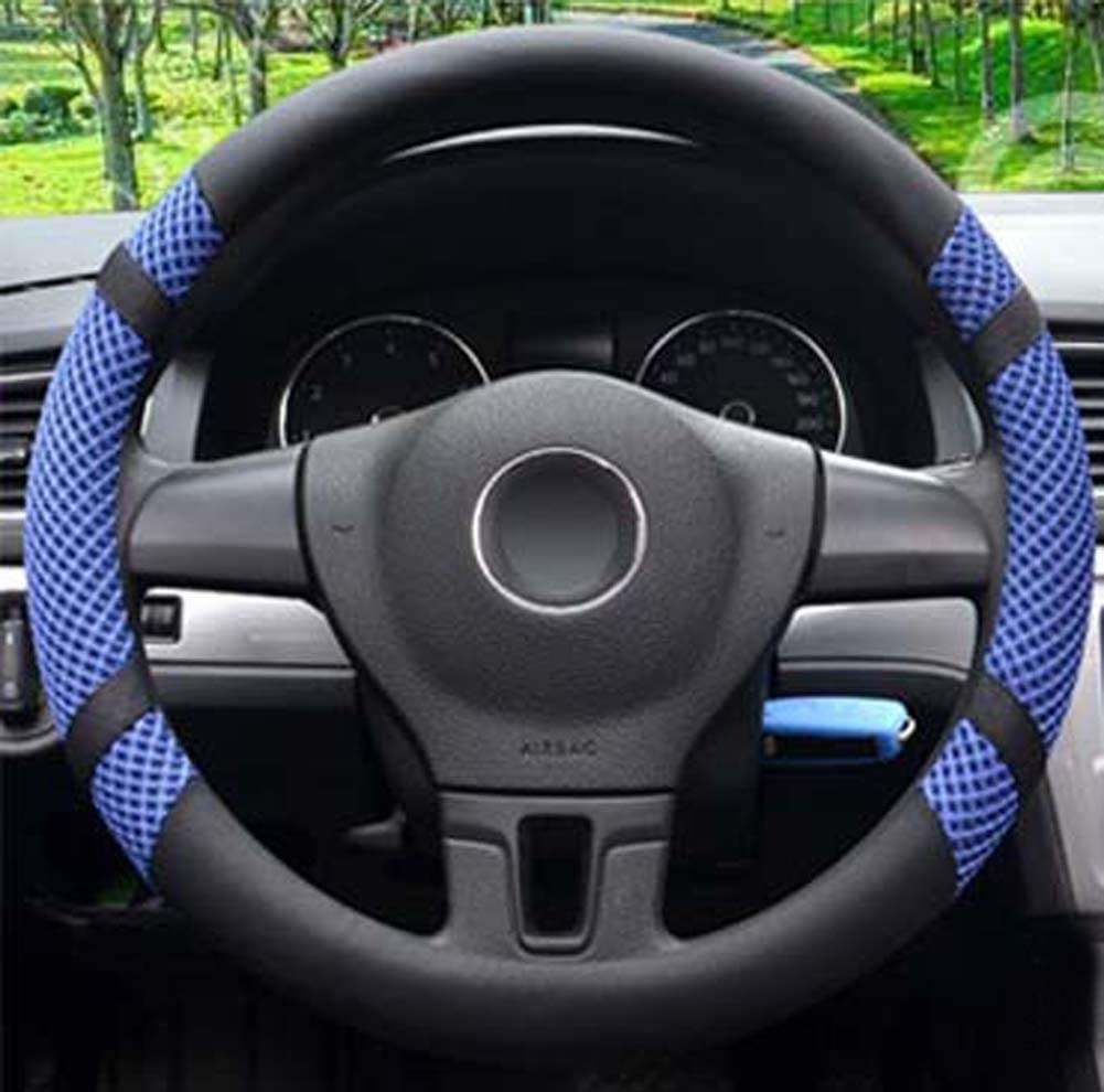 Microfiber Leather and Viscose Universal Breathable Anti-Slip Odorless Steering Wheel Cover (14.5''-15'', Blue)