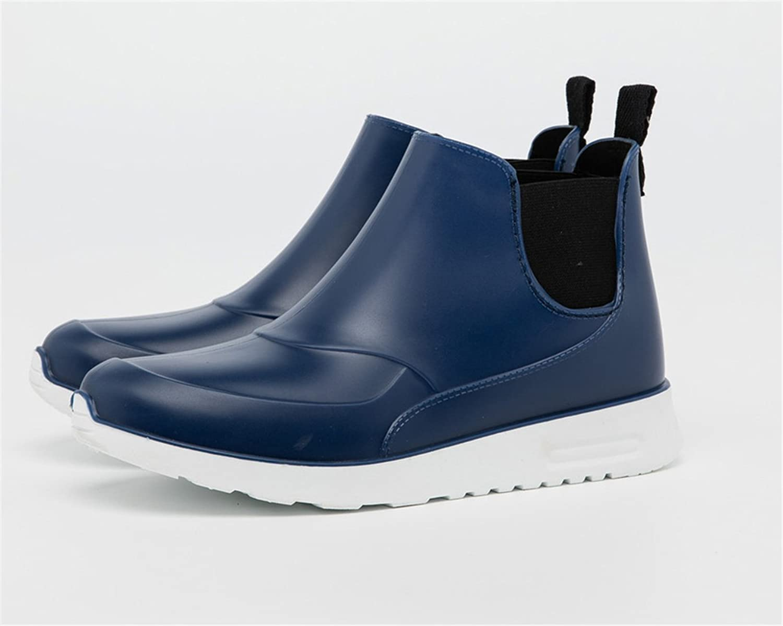 AILU Regenstiefel Damen Kurzschaft Gummistiefel Herren Stiefeletten Boots Schwarz PVC Regen Boots BucnS