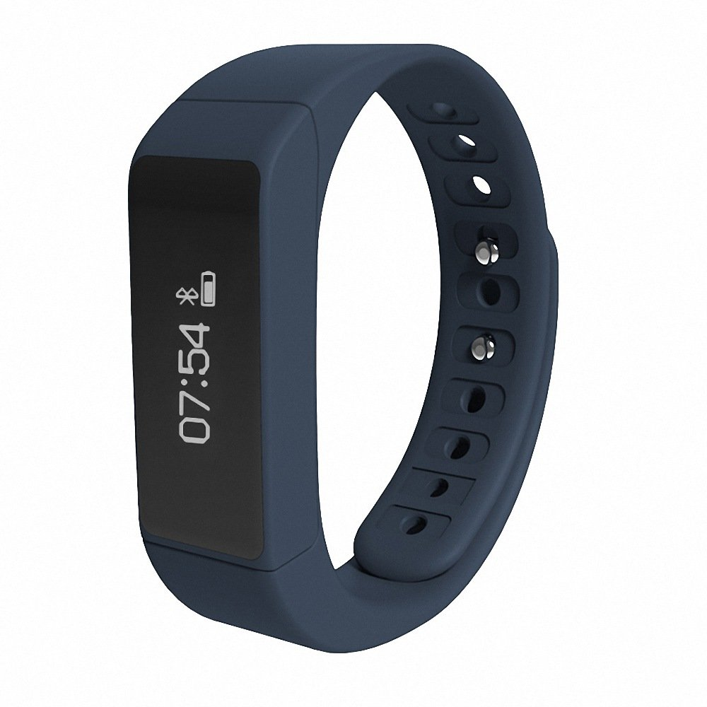 LQM I5 Plus Activity Fitness Step Tracker Sleep Monitor Smart Bracelet Bluetooth Touch Screen Health Sport Pedometer Wristband (Blue)