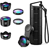 [Upgraed Version] AMIR Phone Camera Lens, 5 in 1 Cell Phone Lens Kit, 15X Macro Lens + 0.6X Wide Angle Lens, 185°Fisheye Lens + CPL + Starburst Lens for iPhone X/8/7/7 Plus/6s & Samsung, Smartphones