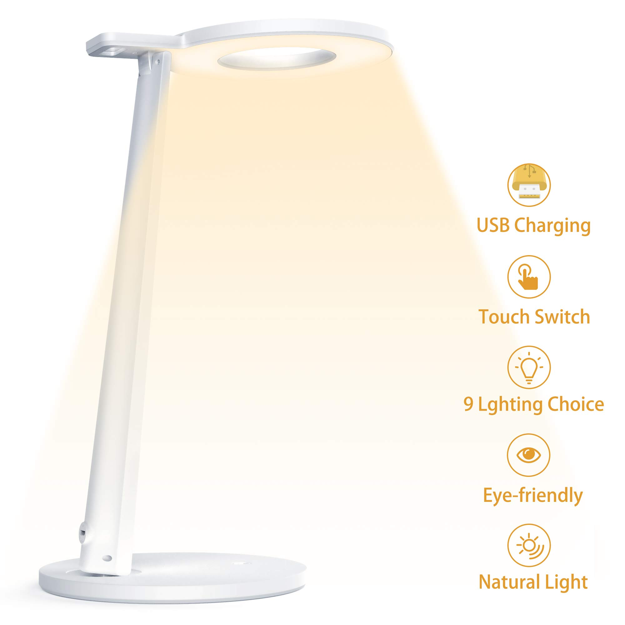 Tesecu LED Desk Lamp USB for Study Dorm Office Dimmable Eye-Caring 3 Lighting Modes 3 Brightness Levels, Sensitive Touch Control, with USB Charging Port, White by Tesecu