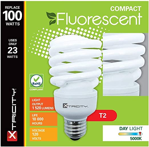 Compact Fluorescent Light Bulb T2 Spiral Cfl 5000k Daylight 23w 100 Watt Equivalent 1520 Lumens E26 Medium Base 120v Ul Listed Pack Of 8 Amazon Com