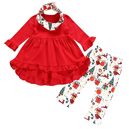 f2b9815c94845 KONFA Teen Toddler Baby Girls Christmas 3Pcs Outfits Clothes,Solid Color  Ruffles Dress+Santa