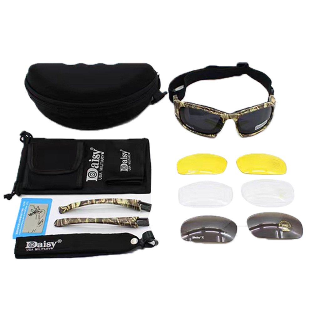 Taktischer Augenschutz, Schutzbrille 4LS, für Herren, Militär-Stil, X7Polarisierte Sonnenbrille, kugelsicher, Airsoft-Brille, Motorradbrille, Fahrradbrille, UV400 MODEL