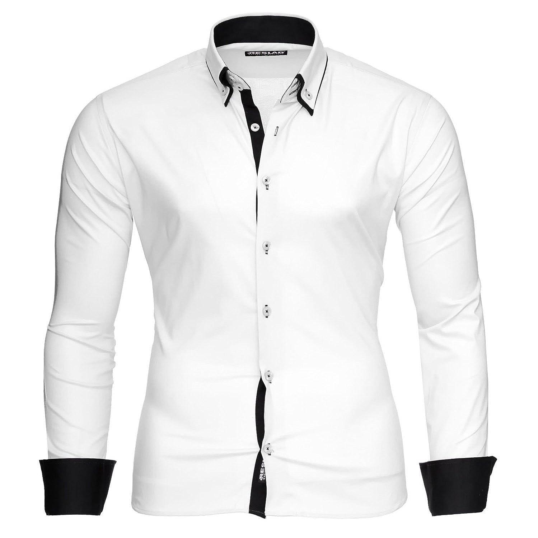 Reslad Camisa de hombre ajustada contraste de manga larga camisa Alabama RS-7050