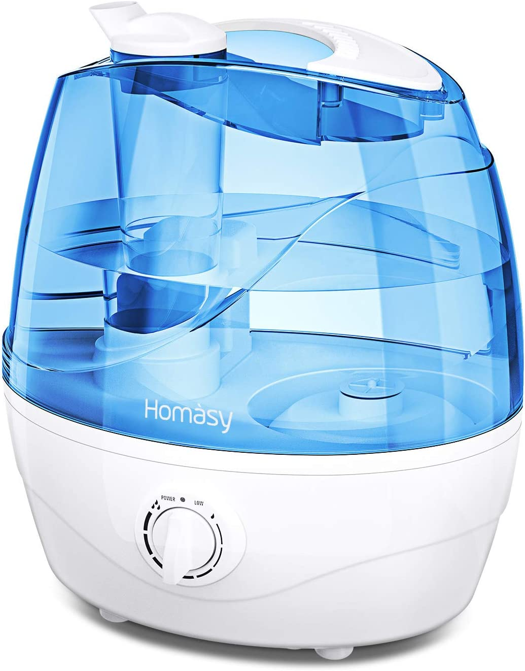 Homasy Cool Mist Humidifiers, Quiet Baby Humidifiers for Bedroom, Last Up to 25 Hours, Easy to Clean, Ultrasonic Humidifier with Precise Mist Control, Auto Shut-Off, Anti-Slip Handle