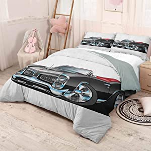 HELLOLEON (Full) Cars 3-Pack (1 Duvet Cover and 2 Pillowcases) Bedding Fancy American Nostalgic Sports Muscle Car with Speeding Wheels Tires Symbol Print Polyester Pale Grey Blue