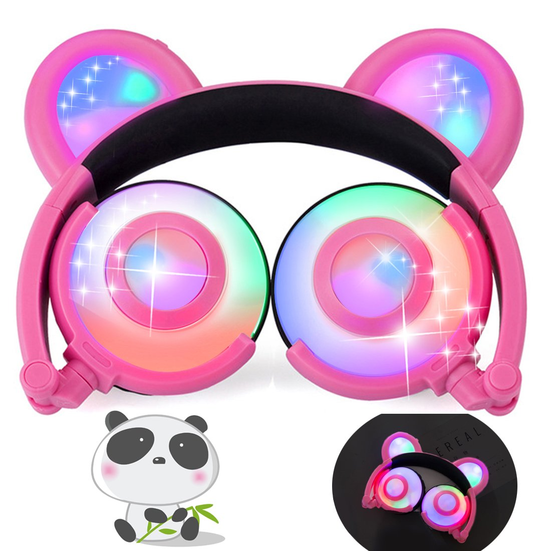 iGeeKid Kids Headphones Bear Ear LED Backlight USB Rechargeable Wired On/Over Ear Gaming Headsets 85dB Volume Limited 3.5mm Jack Headset for Girls Boys Kids Tablet Phone Android PC (pink1)