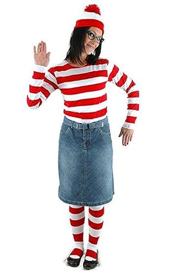 Amazoncom Hbmaida Womens Wheres Waldo Adult Costume Kit Clothing