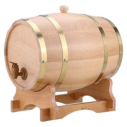 Barril de Vino de Madera de Roble Vintage Dispensador de Whisky Bourbon Tequila Ron (10L