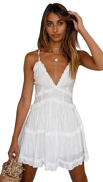 c1f4eccc1e55a OSMall Summer Women White Short Dress Spaghetti Strap Backless Ruffle Club  Party Beach Mini Dress
