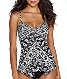 Miraclesuit Tiki Love Knot Tankini Top, 8, Black/White