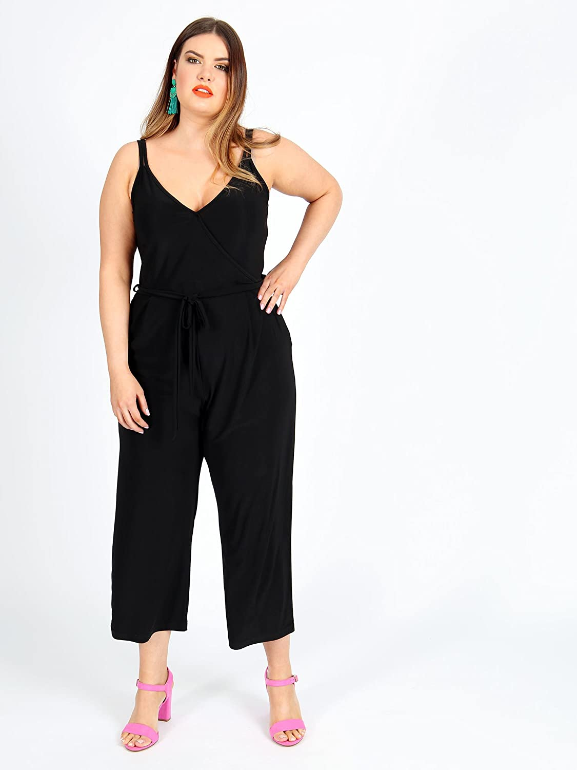 b57f2254141 Lovedrobe Koko Women s Plus Size Black Wrap Spaghetti Strap Jumpsuit (16)   Amazon.co.uk  Clothing