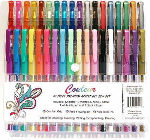Premium Artist Gel Pen Set 36 Pieces for Adult Coloring Book, Scrapbooking, Drawing - Metallic, Glitter, Neon, Pastel Color Gel Pens By Couleur Supply