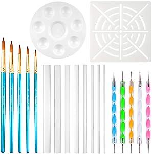 Petift 20pcs Mandala Dotting Tools Set for Painting Rocks,Painting Rocks Dot Kit,Mandala Stencils,Acrylic Stick,Point Drill Tool,Plus Stencil,Brush for Coloring,Drawing & Drafting,Kids' Craft,Nail Art