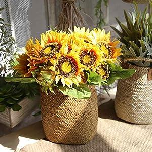 CQURE Artificial Flowers, Fake Flowers Silk Artificial Sunflowers Bridal Wedding Bouquet for Home Garden Party Wedding Decoration 4
