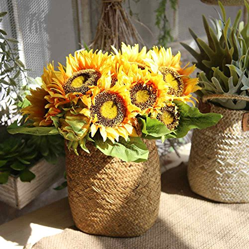 Artificial Flowers, Fake Flowers Silk Plastic Artificial Sunflowers Bridal Wedding Bouquet for Home Garden Party Wedding Decoration