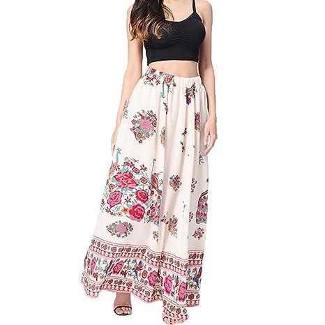 Falda larga para mujer, con estampado floral bohemio, cintura alta ...
